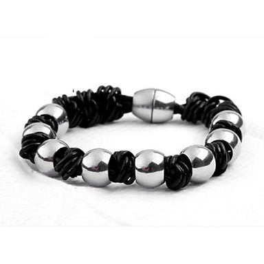 Men's Fashion Personality Titanium Steel Magnets Suction Buckle Woven Round Bead Bracelets