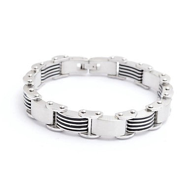 Fashion Men's Zebra Stripe Titanium Steel Health Energy Bracelet