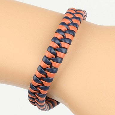 Comfortable Adjustable Men's Leather Cool Hard Bracelet Dark Blue And Orange Braided Leather(1 Piece)