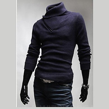 Men's Fashion Leisure Zipper Turtleneck Sweater