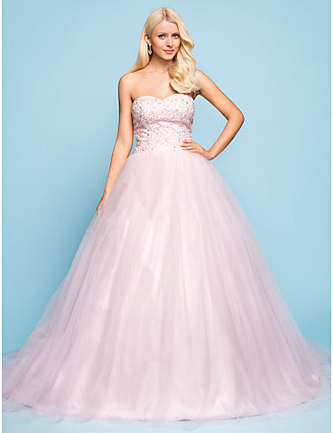 Ball Gown Sweetheart Chapel Train Tulle And Lace Wedding Dress
