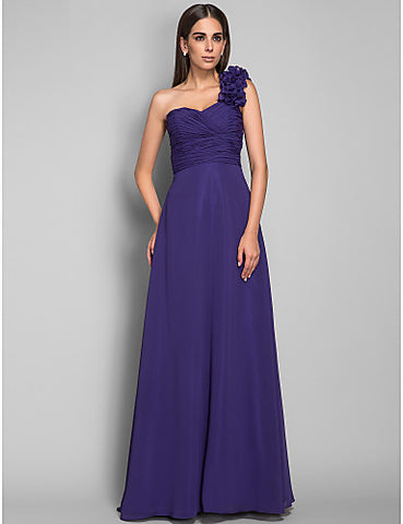 A-line Princess One Shoulder Chiffon Evening Dress