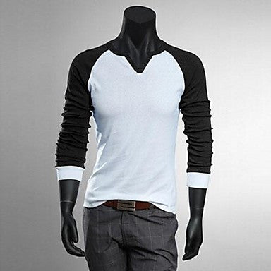 Men's Long sleeved V neck T-shirt bottoming shirt