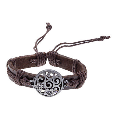 Unisex Hollow Carved Flower Fabric Leather Bracelet(Random Color)