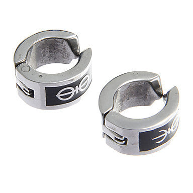 Fashion Dissymmetry Pattern Stainless Steel Silver Clip Earring(1 Pair)