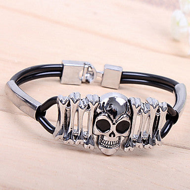 Fashion Popular Big Skull Two Pipe Black Alloy Tennis Bracelet(1 Pc)