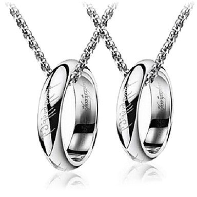 Fashion Ring Silver Titanium Steel Pendant Necklace (1 Pc)