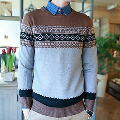 Men's Qiu Dong Folk Style Mercerized Cotton Cozy Crewneck Sweater