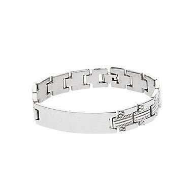 Classic Simple 44cm Men's Silver Titanium Steel ID Bracelet(1 Pc)