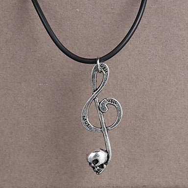 Fashion Stainless Steel Note Pendant Necklace
