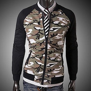 Men's Camouflage Collar Cardigan Sweater Short Paragraph Self-Cultivation