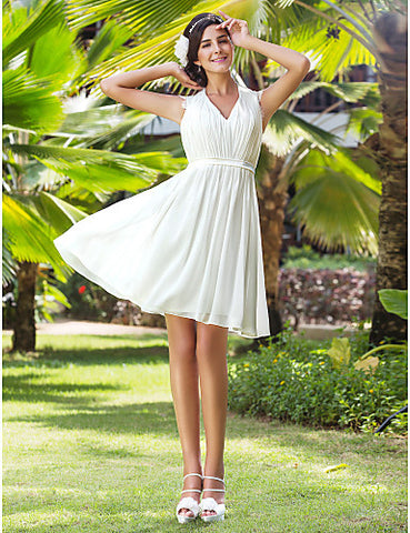 A-line V-neck Knee-length Chiffon Wedding Dress With Removable Belt