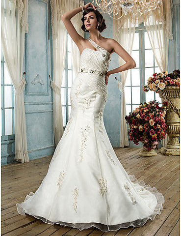 Trumpet/Mermaid One Shoulder Court Train Organza And Lace Wedding Dress(605118)