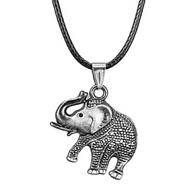 Ethnic Classic (Elephant) Black Leather Pendant Necklace(Black,White) (1 Pc)