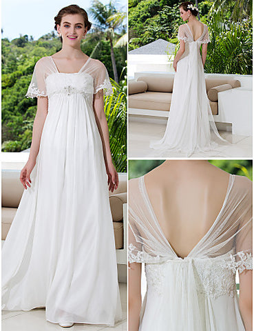 Wedding Dress A Line Court Train Georgette and Tulle Off the Shoulder With Pearl Detailing and Crystal Detailing
