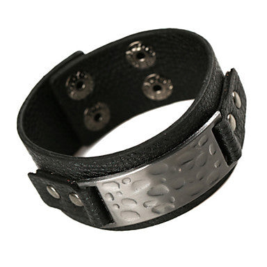 European Retangle 20cm Men's Black Leather Leather Bracelet(1 Pc)