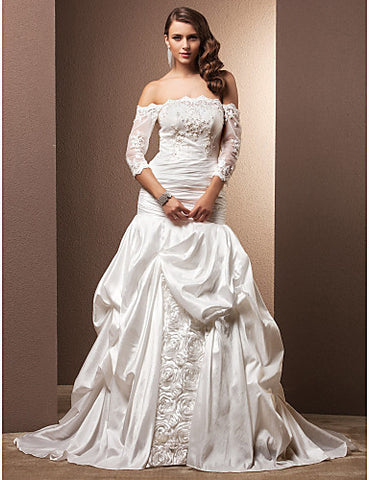 Fit and Flare Off-the-shoulder Chapel Train Taffeta Wedding Dress
