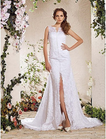 Charming A-line V-neck Chapel Train Lace Wedding Dress