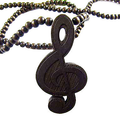 Music Symbol Pattern Wooden Necklace