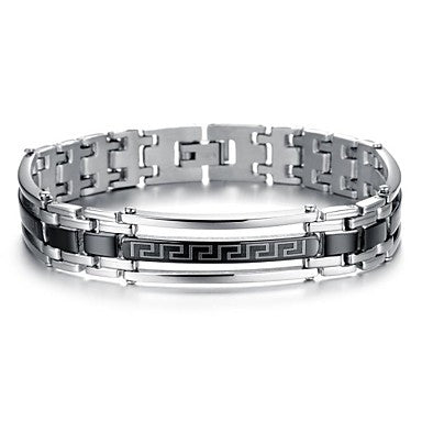 European Style The Great Wall Pattern Platinum Plated Titanium Steel Men's Bracelet (1 pc)