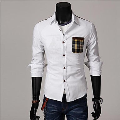 Men's Casual Fashion Stand Collar Contrast Color Long Sleeve Shirt