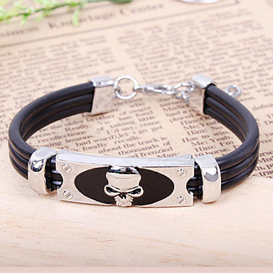 Fashion New Punk Style Men High Class Skull Black Alloy Leather Chain&Link Bracelet(1 Pc)