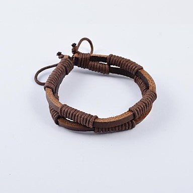 Fashion Men's Rope Wrapped Leather Bracelets