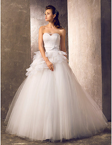 Wedding Dress A Line Sweep Brush Train Tulle Sweetheart Bridal Gown With Ruffles