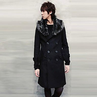 Men's Fur Collar Double-breasted Long Woolen Coat
