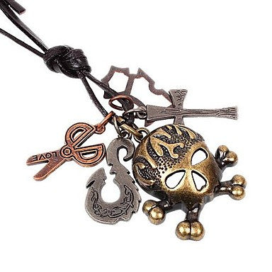 Mini Cute Skull Pandent Hide Rope Men's Necklaces(1pc)
