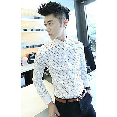 Men's White Wave Slim Fit Long Sleeve Shirt