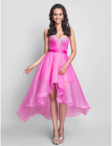 A-line Sweetheart Asymmetrical Organza Cocktail/Prom Dress