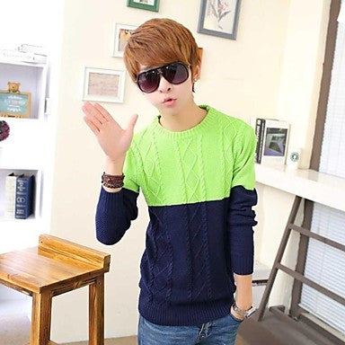 Men's Round Collar Long Sleeve Contrast Color Casual Sweaters (More Colors Available)