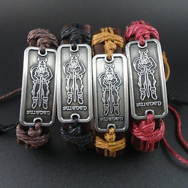 Fashion Vintage Human Charms Hemp Rope Women Men Leather Bracelet