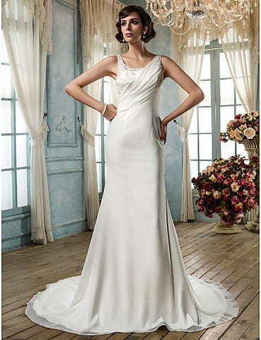 Sheath/Column Scoop Chiffon Wedding Dress(605114)