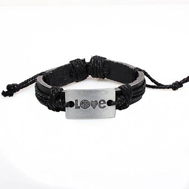 Fashion Love 20cm Unisex Silver Alloy Leather ID Bracelet(1 Pc)