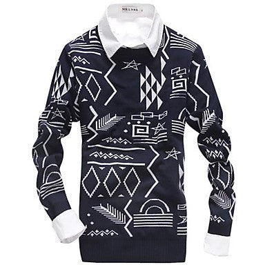 Men's Clothing Sets Round Collar Long Sleeve Knit Sweater