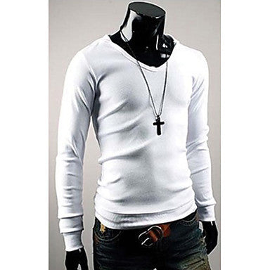 V-Neck Pure Color Slim Hoodie