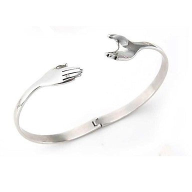 Men's Fashion Personality Titanium Steel Hand in Hand Bracelets