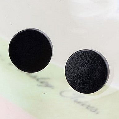 Classic Round Magnet Black Alloy Stud Earrings (1 Pair)