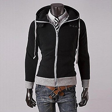Men's Slim Brushed Hooded Stitching Sweater