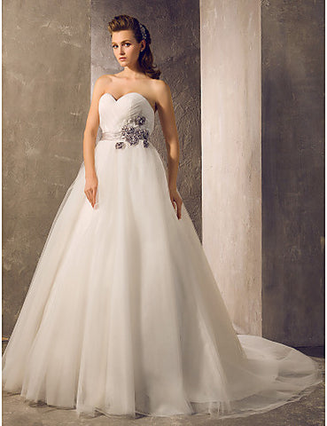 A-line Princess Sweetheart Floor-length Tulle Wedding Dress With Criss Cross(632819)