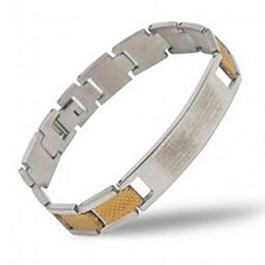 Men's Fashion Personality Titanium Steel Golden Splicing Bible Bracelets