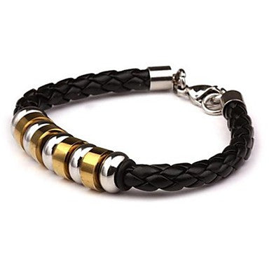 Men's Fashion Personality Titanium Steel Nine Sections Golden Indirect Leather Braided Bracelets