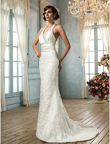Trumpet/Mermaid V-neck Satin And Lace Wedding Dress(604627)