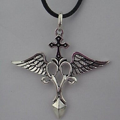 Vintage Cross (Wing) Black Feather Pendant Necklace() (1 Pc)