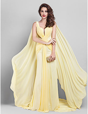 Sheath/Column V-neck Court Train Georgette Evening Dress