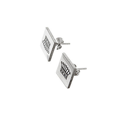 Vintage Square Crown Pattern Silver Alloy Stud Earring(1 Pair)