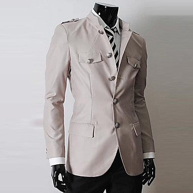 Men's Fashion Personality Long Sleeve Simple Cultivation Coat