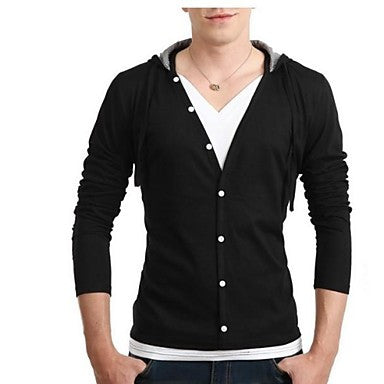 Men's Fashion with A Hood Long Sleeve Casual T-shirt